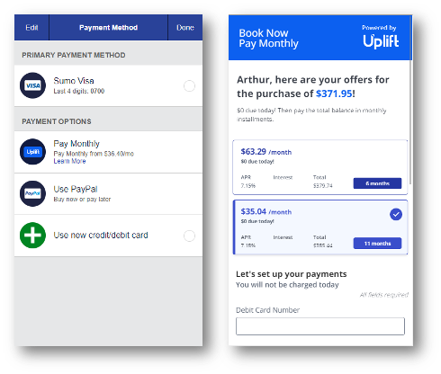 A visual of the installment payment option on Southwest.com